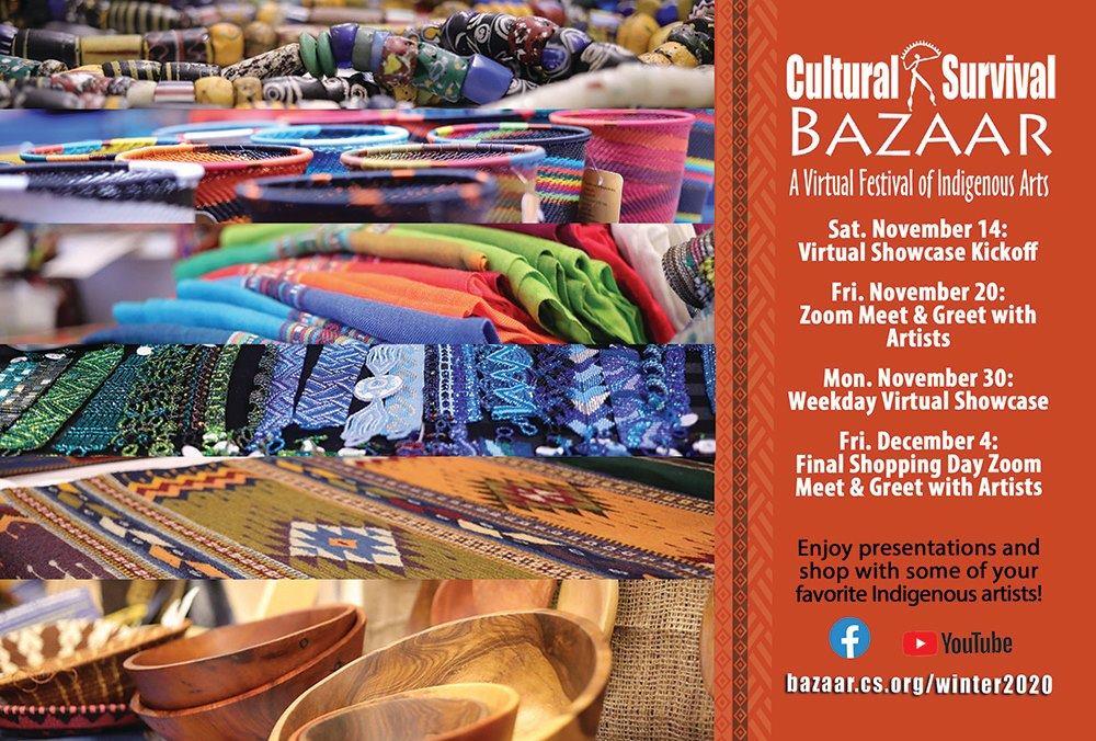 The Next Virtual Cultural Survival Bazaar starts – Saturday, November 14, 2020